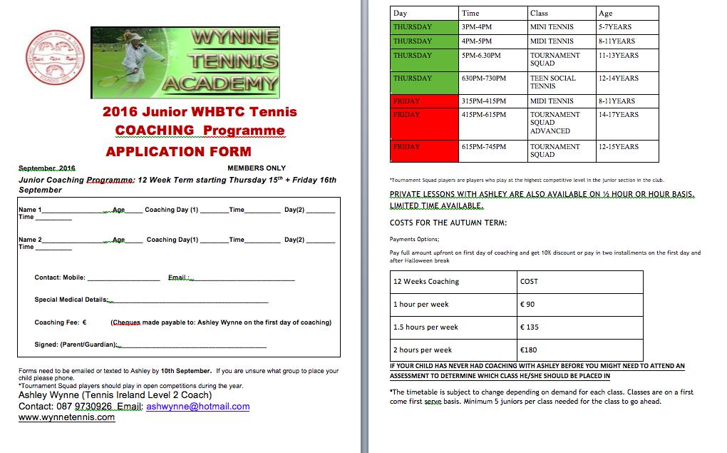 whbtc junior tennis coaching sept 2016